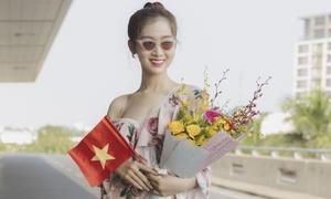 Nhật Hà diện đồ 'bánh bèo' sang Thái thi Hoa hậu Chuyển giới Quốc tế