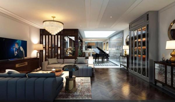 Không gian phòng khách sang trọng trong biệt thự mới của Tuấn Hưng.