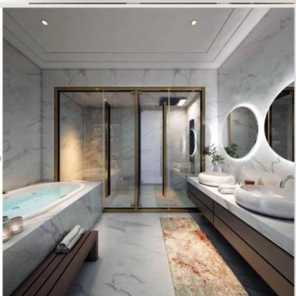 Phòng tắm được thiết kế sang trọng.