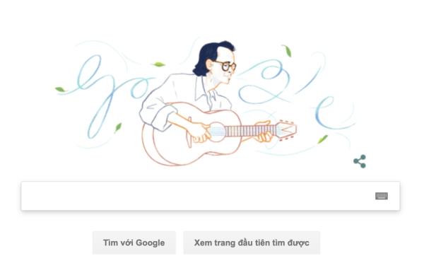 Google Doodle chọn hình ảnh cố nhạc sĩ Trịnh Công Sơn để làm ảnh đại diện trên trang tìm kiếm Google Việt Nam.