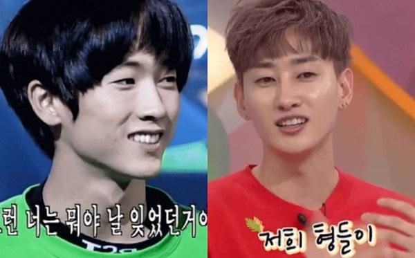 Eun Hyuk (Super Junior - phải) được gọi là phiên bản trẻ tuổi của Jang Woo Hyuk (H.O.T) vì đôi mắt một mí và nụ cười đặc trưng.