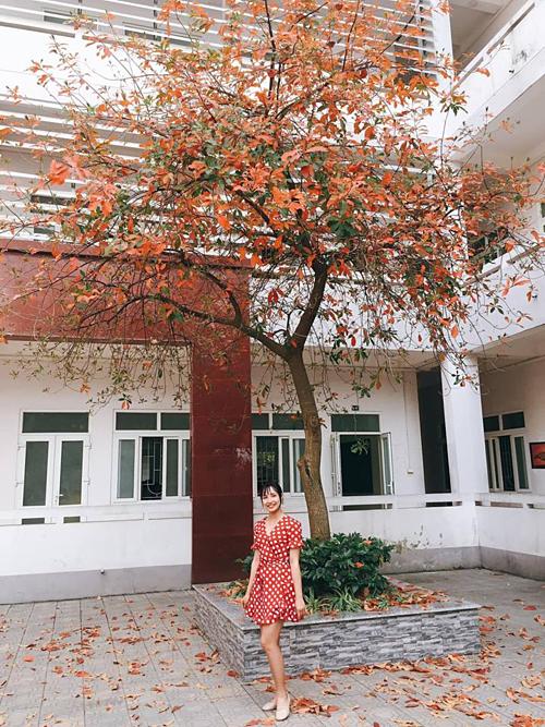Rất hiếm hoi nhìn thấy cây lộc vừng thay lá đỏ rực nên các bạn sinh viên phải tận dụng ngay để lưu giữ khoảnh khắc đẹp này.