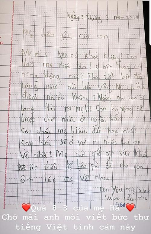 Bức thư tay Subeo gửi mẹ được Hà Hồ đăng tải.