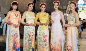 5 hoa hậu, á hậu diện áo dài đọ sắc trong cùng khung hình