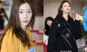 So Won lộ chân gầy đáng lo ngại, Tae Yeon trẻ trung như nữ sinh ở sân bay