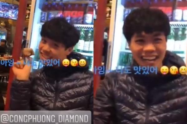 Trên tài khoản mạng xã hội của CLB Incheon United đăng tải khoảnh khắc Công Phượng cùng các đồng đội ăn thịt gà. Biểu cảm nữ tính, rất biết cách diễn sâu của anh chàng một lần nữa khiến fan té ghế.