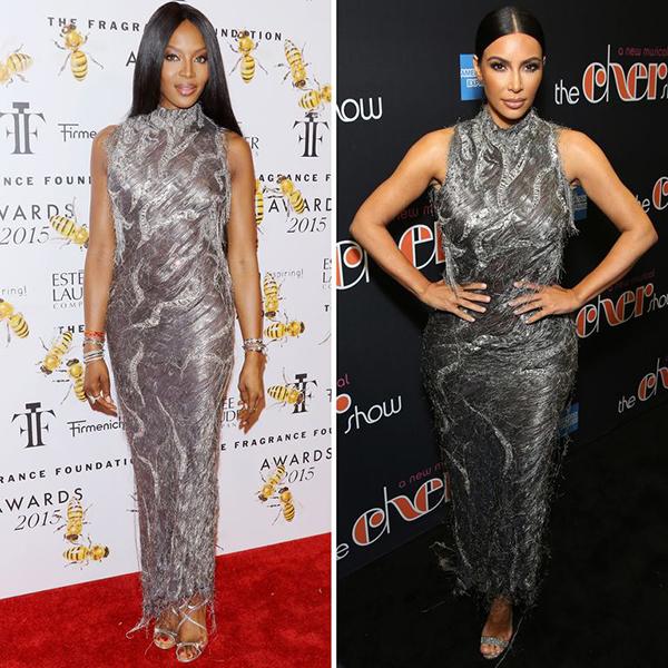Khác biệt về vóc dáng, Naomi và Kim mang đến những sắc thái khác nhau cho cùng một bộ cánh.