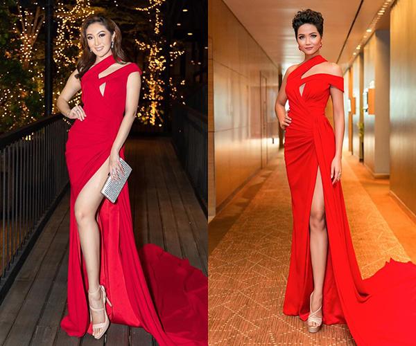 Trong một chuyến công tác Việt Nam gần đây, Hoa hậu Trái đất 2017 Karen Ibasco tỏa sáng trong bộ đầm đỏ rực rỡ của NTK Linh San. Thiết kế Việt gợi cảm này cũng từng giúp HHen Niê thu hút ống kính.