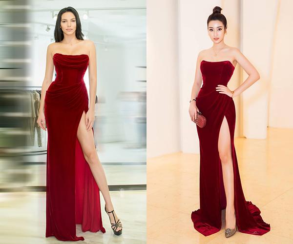 Chân dài nóng bỏng đến từ Puerto Rico còn có màn đụng váy với Hoa hậu Việt Nam 2016 Đỗ Mỹ Linh. Thiết kế cúp ngực xẻ tà cao giúp hai người đẹp tôn vóc dáng. Tông màu đỏ mang đến sự sang trọng cho cả hai khi đi sự kiện.