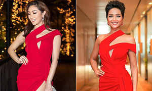 Hoa hậu Việt đọ sắc hoa hậu quốc tế khi diện đầm giống nhau