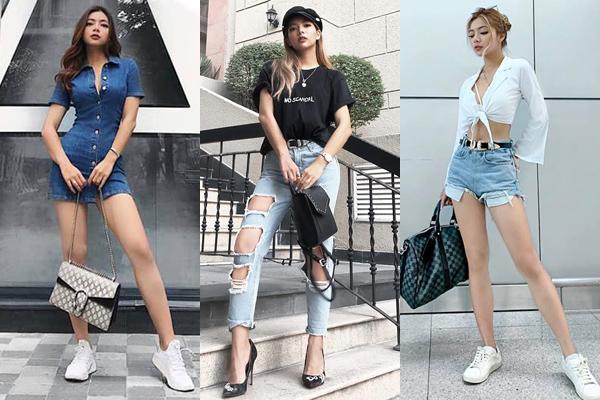 Lúc ra phố, Katleen mặc đồ năng động và cool ngầugiống các cô gái Âu Mỹ. Mix đồ đơn giản nhưng cô nàng vẫn toát lên nét đẳng cấp cùng bộ sưu tập túi xách hàng hiệu rất đa dạng.