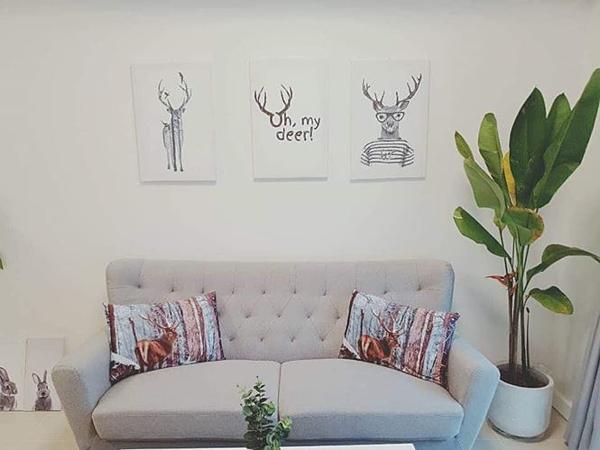 Bộ sofa nhỏ gọn, phù hợp với diện tích căn hộ. Đây là căn nhà lý tưởng cho những người sống độc thân.