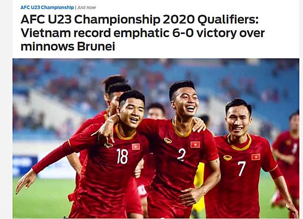 Fox Sports bình luận về trận đấu giữa U23 Việt Nam và U23 Brunei tối 22/3.