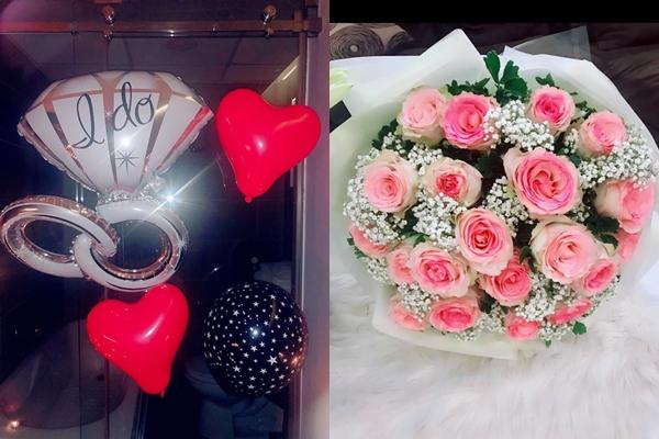 Căn phòng ngủ được Tiến Vũ chuẩn bị từng chi tiết nhỏ như bóng bay, hoa hồng, lời tỏ tình bằng tên viết tắt chữ cái đầu tiên của hai người là V love M (Vũ yêu My).