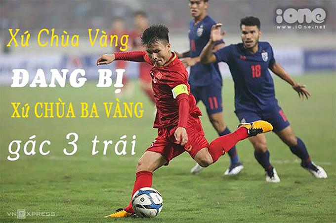"""<p> Sau bàn thắng<a href=""""https://ione.vnexpress.net/photo/hong/mo-ty-so-ha-duc-chinh-duoc-che-anh-lai-danh-mat-chinh-minh-3900407.html""""> mở tỷ số </a>của Hà Đức Chinh và pha nhân đôi cách biệt của Hoàng Đức, U23 Việt Nam với tâm lý thi đấu thoải mái ở phút thứ 61, Thành Chung nâng tỷ số lên 3-0 cho U23 Việt Nam. Hậu vệ Việt Nam đã có mặt đúng chỗ để đệm bóng ghi bàn một cách dễ dàng trước khung cảnh lộn xộn của khung thành đối phương. Bức ảnh chế lấy cảm hứng từ chiến thắng của tuyển Việt Nam và câu chuyện thời sự đang diễn ra, liên quan đến chùa Ba Vàng.</p>"""