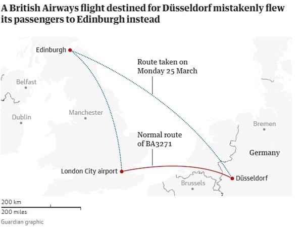 Đồ họa biểu thị cho thấy chuyến bay bị nhầm. Đồ họa: Guardian.