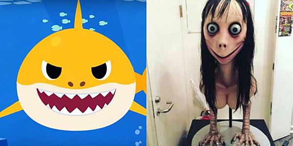 Những giây đầu vẫn là bài hát Baby Shark nhưng sau đó là sự xuất hiện của Momo.