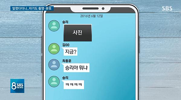 SBS đăng tải ảnh mô phỏng đoạn chat trong đó có bằng chứng cho thấy Seung Ri phát tán ảnh đồi trụy.Nội dung tin nhắn:Seung Ri: (Gửi ảnh)Kim: Lại nữa à?Choi Jong Hoon: Seung Ri àcái gì đây anh?Seungri: (Gửi loạt biểu tượng mặt cười)
