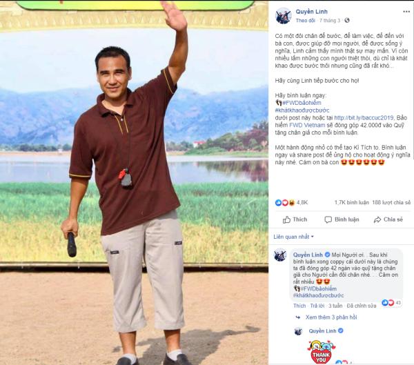 Diễn viên kỳ cựu, MC Quyền Linh cũng quan tâm chia sẻ: