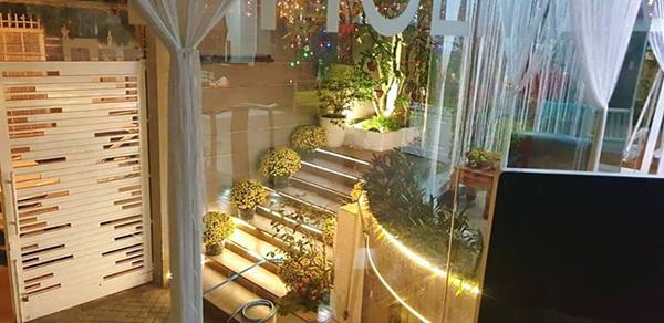 Lối đi vào từ cổng căn biệt thự được trang trí bằng nhiều cây và hoa.