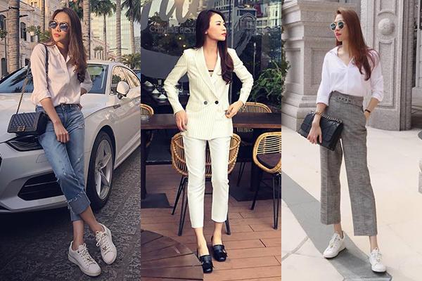 Diện suit trắng đơn giản chụp hình, Đàm Thu Trang chứng minh phong cách ăn mặc đậm chất menwear đã thành thương hiệu. Ở đời thường, hôn thê của Cường Đô la cũng rất ít khi diện váy áo điệu đà mà thường chỉ mặc suit hoặc sơ mi kiểu công sở.