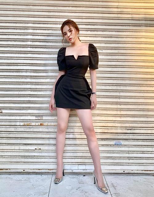 Chiếc váy có giá khoảng 2 triệu đồng giúp Kỳ Duyên sang chảnh chẳng khác gì mặc đồ hiệu cao cấp.