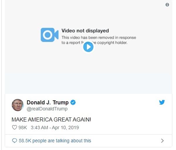 Bài đăng của Trump trên twitter vẫn còn, tuy nhiên video đã bị vô hiệu hóa.