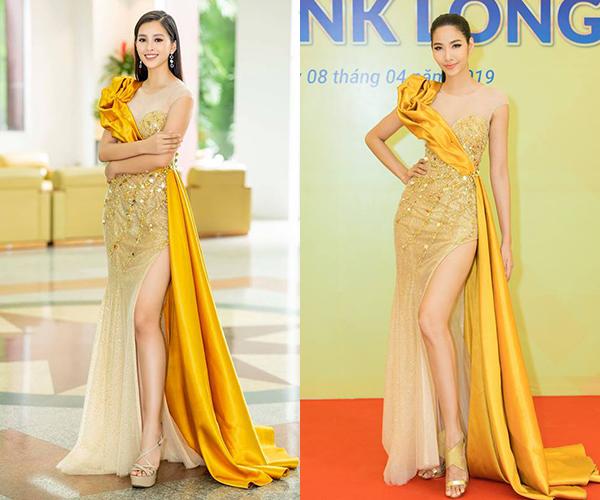 Đụng độ mẫu váy với Tiểu Vy, Hoàng Thùy cho thấy đôi giày cô kết hợp cùng chưa hẳn là một lựa chọn tinh tế. Hoa hậu Việt Nam 2018 giúp đôi chân trông thon dài hơn nhờ đi đôi sandals quai mảnh mai màu nude khá tương đồng với da thật.