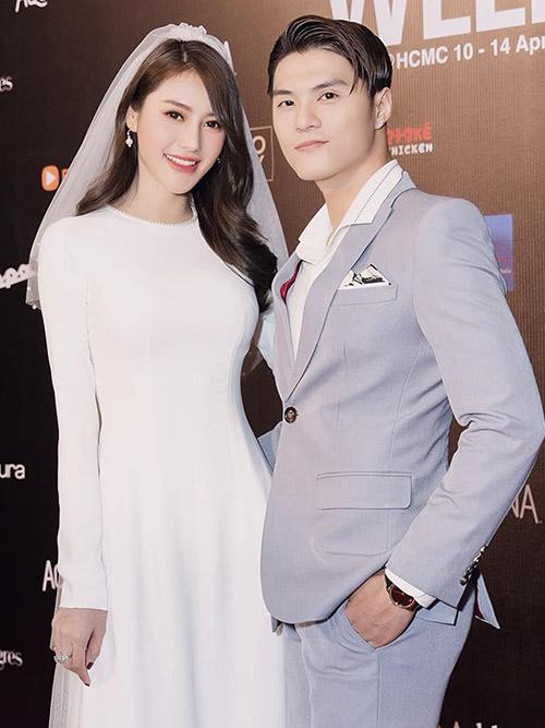 Lâm Vinh Hải - Linh Chi hóa cô dâu, chú rể xinh đẹp trên thảm đỏ sự kiện thời trang.