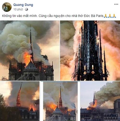 Sao Việt bàng hoàng trước tin Nhà thờ Đức Bà Paris bị cháy.