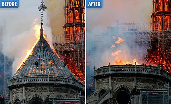 Một phần kiến trúc của nhà thờ trong và sau đám cháy. Ảnh: The Sun.