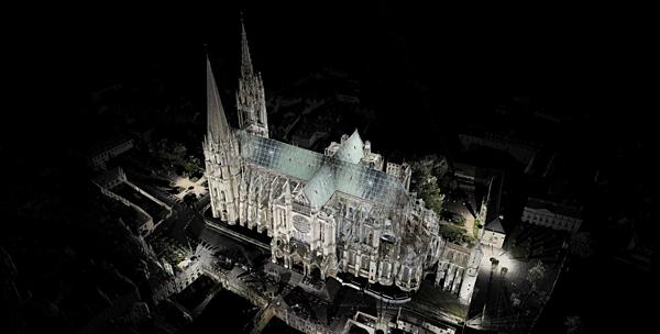 Một nhà thờ tại Chartres, Pháp được giáo sư Tallon tái tạo trong không gian 3D bằng công nghệ laser scanning.