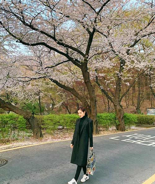 Huyền My đi công tác Hàn Quốc, tranh thủ dạo đường phố ngắm hoa anh đào.