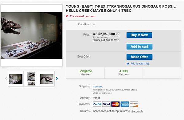 Bài đăng rao bán hóa thạch T-Rex trên ebay.