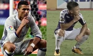 Quang Hải tái hiện màn ăn mừng 'kinh điển' của Ronaldo