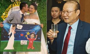 HLV Park Hang-seo, Quang Hải, Đình Trọng chúc mừng đám cưới Hùng Dũng