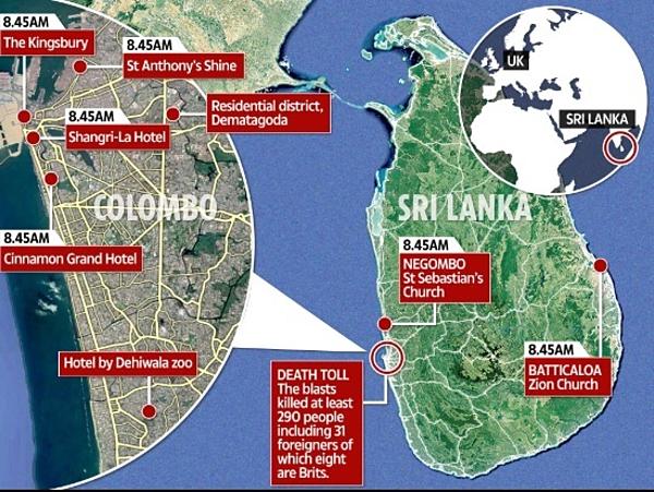 Những địa điểm là nơi thảm sát đánh bom đẫm máutại Sri Lanka.