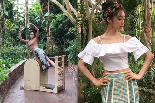Eun Jung khoe eo thon săn chắc trong buổi chụp hình tạp chí. Cô nàng thể hiện bài tập pilates giữa thiên nhiên.