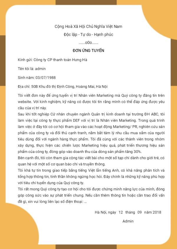 Một mẫu đơn xin việc tại timviec365.vn