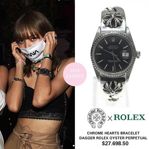 So với yêu nữ hàng hiệu Jennie, Lisa không hề thua kém trong việc chi tiền tỷ để sắm những món đồ đắt đỏ. Một trong những món đồ được nữ idol đầu tư nhất là đồng hồ. Lisa sở hữu nhiều chiếc đồng hồ với mức giá trên trời. Mới đây nhất, người đẹp gây trầm trồ khi đeo trên tay chiếc Rolex x Chrome Hearts có giá đến 650 triệu đồng.