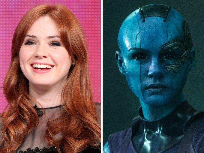 <p> Nebula có tạo hình nửa người, nửa robot, có đầu trọc và làn da xanh lét đáng sợ. Nhiều khán giả đã không khỏi ngạc nhiên khi biết được bên dưới lớp hóa trang xấu xí này là một gương mặt rất xinh đẹp.</p>