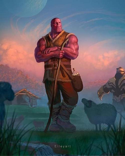 Lão nông Thanos trồng cây, chăn nuôi gia súc sống qua ngày.