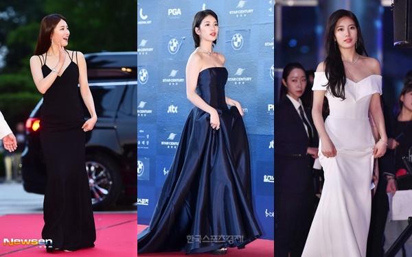 Đây là lần thứ 4 liên tiếp Suzy được chọn làm MC của Baeksang Art Awards. Trước đó, vào những năm 2016-2017-2018, sự xuất hiện của cô nàng cũng là tâm điểm chương trình. Netizen Hàn gọi Suzy là Nữ thần Baeksang bởi luôn lựa chọn những trang phục nổi bật, lộng lẫy trên thảm đỏ.