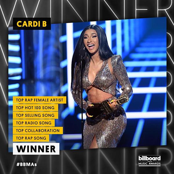 Cardi B thắng lớn tại BBMAs năm nay. Nữ rapper hốt 6 chiếc cúp tại các hạng mục, trong đó 2 năm liên tiếp thắng giảiTop Rap Female Artist (Nữ nghệ sĩ rap hàng đầu).