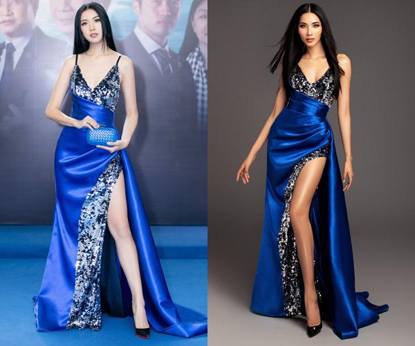 Thiết kế xanh coban phối kim sa của NTK Đỗ Long từng giúp Á hậu Thúy Vân trông rất quyến rũ khi tham dự một sự kiện. Khi mặc lại trang phục này, Hoàng Thùy cũng để kiểu tóc thẳng mái giữa giống hệt Thúy Vân, tuy nhiên cô trông khác biệt nhờ làn da rám nắng.