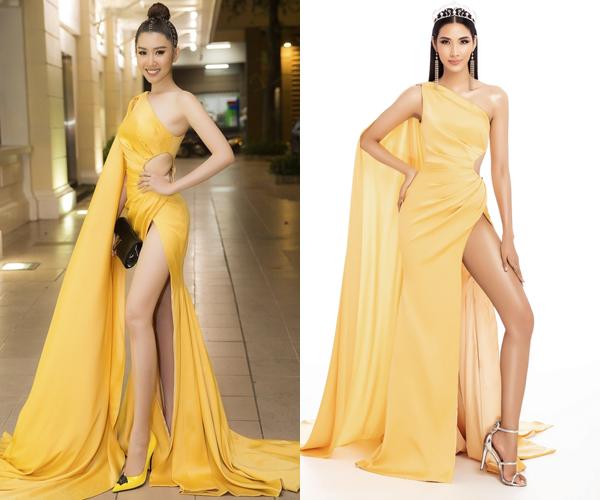 Bộ váy này từng được diễn viên Thúy Ngân mặc đi sự kiện. Khoảng hở mênh mông giúp hai người đẹp khoe khéo chân thon dài.