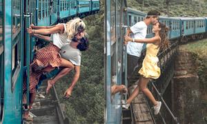 Cặp đôi bị chỉ trích ngu ngốc vì bắt chước 'nụ hôn cuồng nhiệt' trên ray tàu