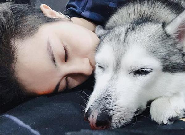 Gil Lê tình cảm nựng chócưng, còn đặt cho chú chó nickname là cô bé răng hô.