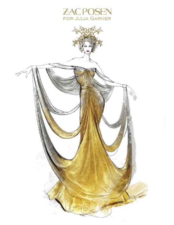 Cũng sở hữu một chiếc váy đến từ Zac Posen nhưng diễn viên/người mẫu Julia Garner lại lựa chọn tô điểm cho bộ cánh của mình bằng một chiếc vương miện được tạo tác bởi công nghệ in 3D của GE Additive và Protolabs.
