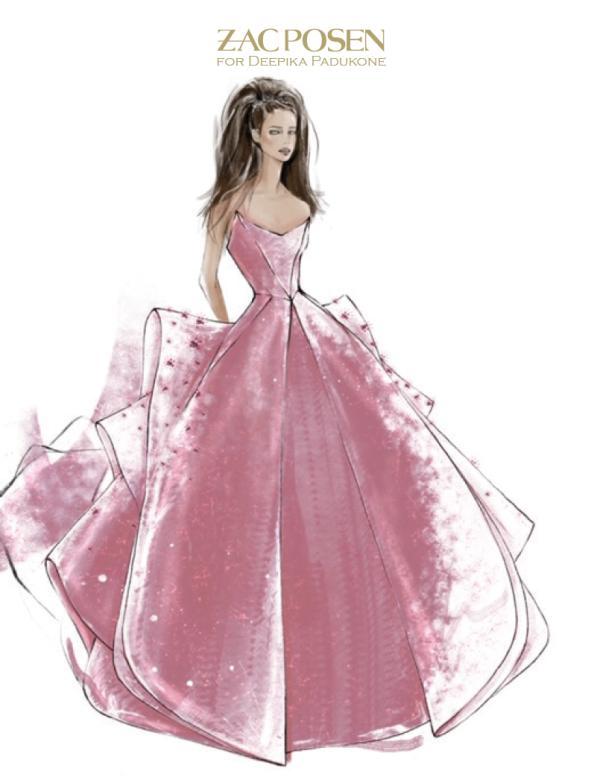Nữ diễn viên nổi tiếng của nền điện ảnh Bollywood Deepika Padukone đến dự Met Gala với một chiếc váy Zac Posen màu hồng ánh kim.